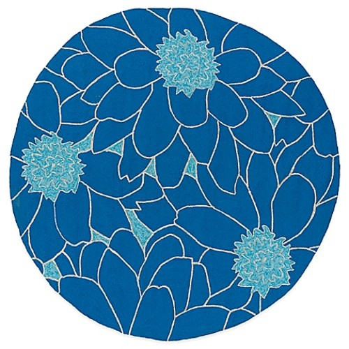 Kaleen Home & Porch Floral 5-Foot 9-Inch Round Indoor/Outdoor Rug in Blue