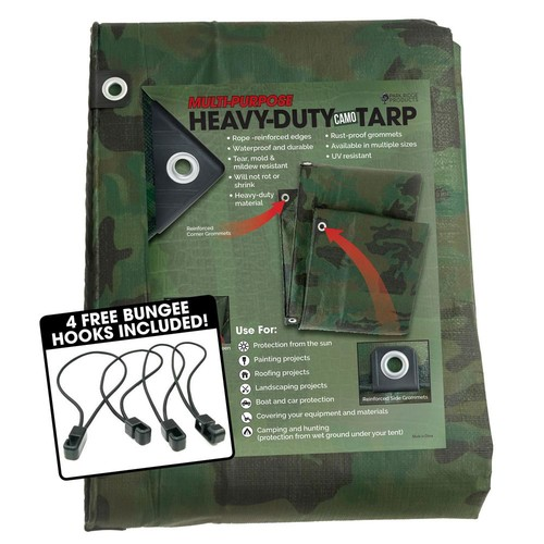 TAFCO PRODUCTS 12 ft. x 20 ft. Heavy-Duty CAMO Reversible Poly 10 mil Tarp Kit Includes 4 Free Bungee Hook Tie Downs