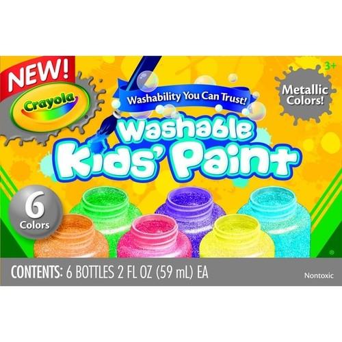 Crayola Non-Toxic Washable Metallic Paint Set, 2 oz Bottle, Assorted Color, Set of 6