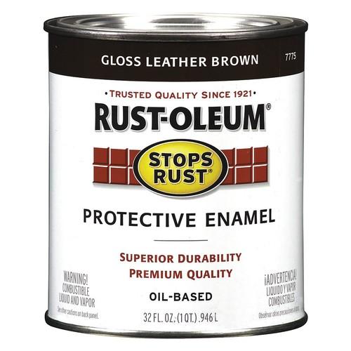 Gloss Enamel Paint, Oil Base, Leather Brown, 1 qt.