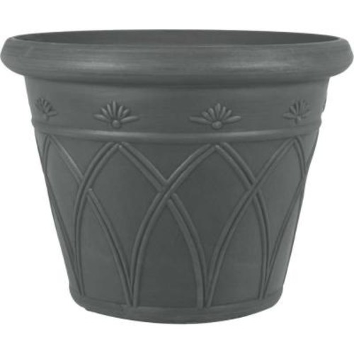 Pride Garden Products 12 in. Dia Arch Charcoal Plastic Planter