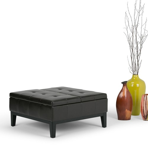 Simpli Home Dover Faux Leather Coffee Table Storage Ottoman; Brown