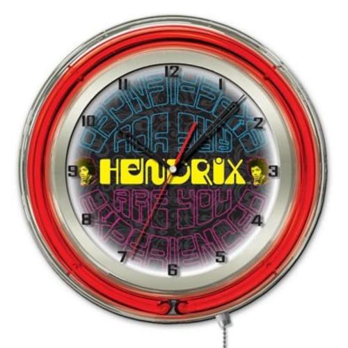 Holland Bar Stool Jimi Hendrix Mirrored Double Neon Ring Logo Wall Clock; 19'' H x 19'' W x 5'' D