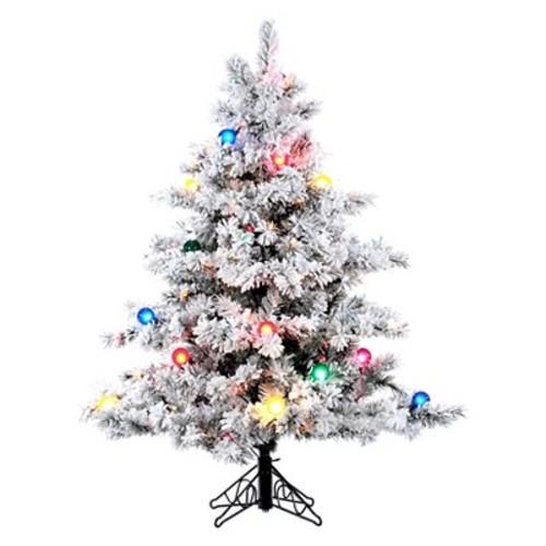 4.5ft Pre-Lit LED Artificial Christmas Tree Flocked Alaskan - Multicolored Lights