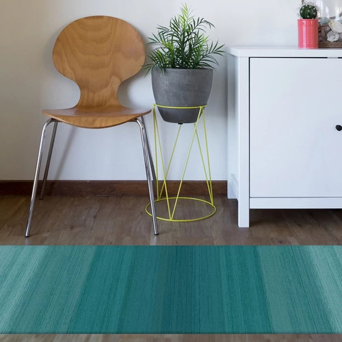RUGGABLE Washable Indoor/Outdoor Stain Resistant Runner Rug Ombre Blue (2'6