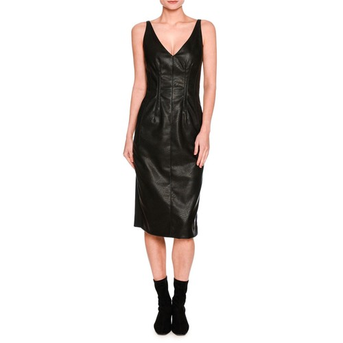 STELLA MCCARTNEY Sleeveless V-Neck Faux-Leather Dress, Black
