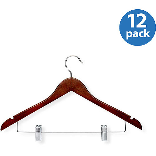 Honey-Can-Do HNGT01210 Basic Suit Hangers with Clips Cherry, 12-Pack [Cherry]