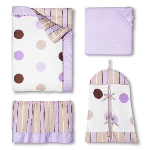 Sweet Jojo Designs 11pc Mod Dots Crib Set - Purple