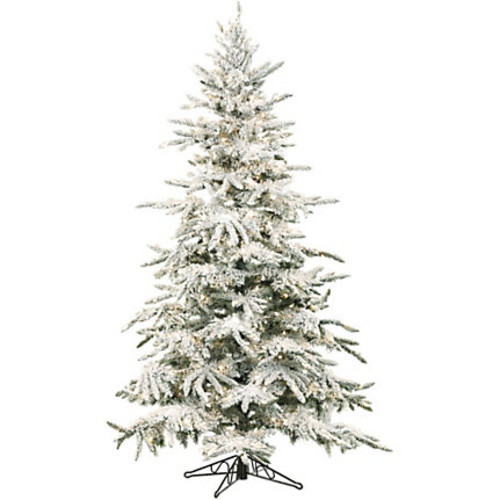 Fraser Hill Farm Artificial Flocked Mountain Pine Christmas Tree, 9'