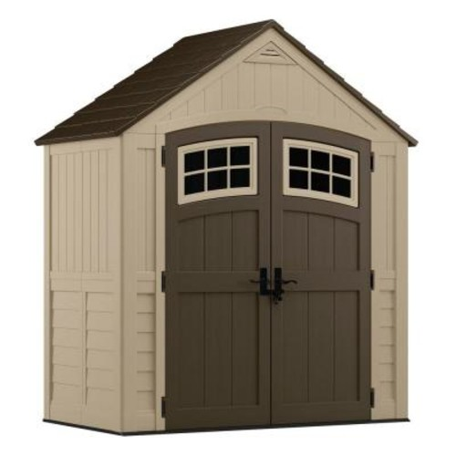 Suncast Sutton 7 ft. 4.5 in. x 3 ft. 11.75 in. Resin Storage Shed