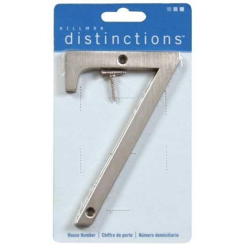 Distinctions by Hillman 843327 4-Inch Brushed Nickel Flush-Mount House Number 7 [Brushed Nickel, Number 7]