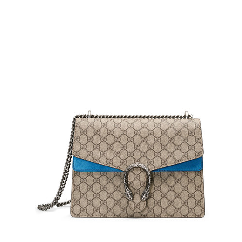 GUCCI Dionysus Gg Supreme Shoulder Bag, Beige/Bright Blue