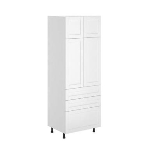 Fabritec Amsterdam Ready to Assemble 30 x 83.5 x 24.5 in. Pantry/Utility Cabinet in White Melamine and Door in White