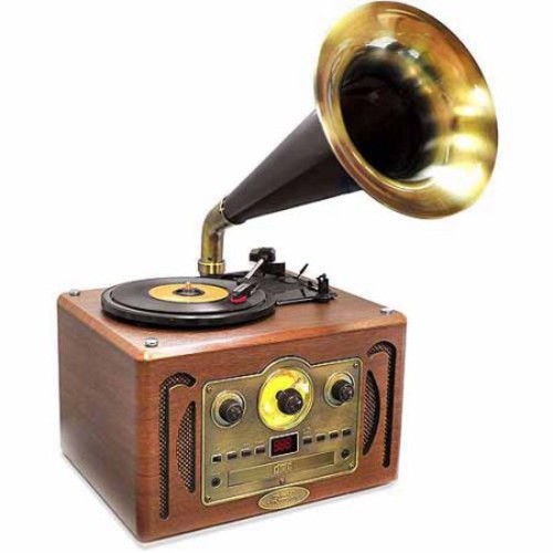 Pyle Home PVNP30BT Retro-style Bluetooth Turntable Phonograph With Horn, Am/fm Radio & Cd Player