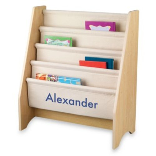 KidKraft Personalized Logan Sling Bookshelf in Natural with Blue