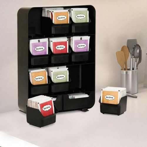 Mind Reader Baggy Tea Bag and Accessory Rack in Black