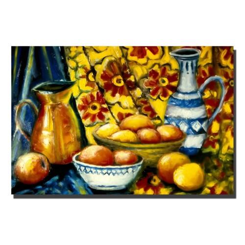 Trademark Fine Art Michelle Calkins 'Still Life with Oranges' Canvas Art 22x32 Inches