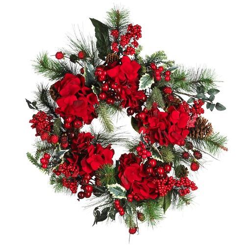 nearly natural Hydrangea Holiday Wreath