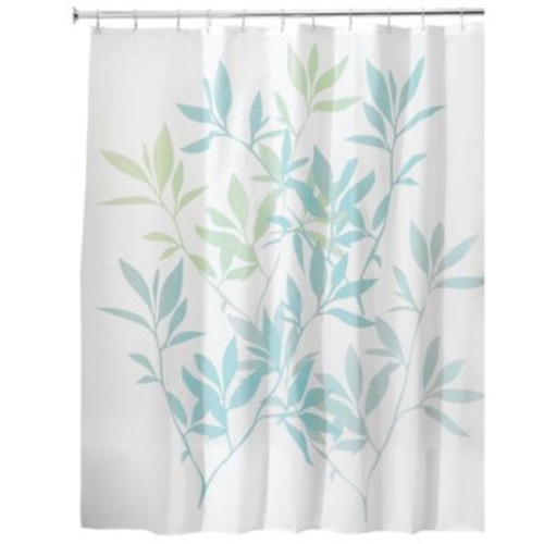 InterDesign 72-Inch x 72-Inch Leaves Fabric Shower Curtain in Blue/Green