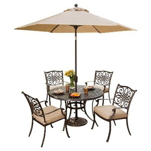 Hanover Outdoor Furniture Traditions 5 Pc. Dining Set of 4 Aluminum Cast Dining Chairs, 48 in. Round Table, and a Table Umbrella