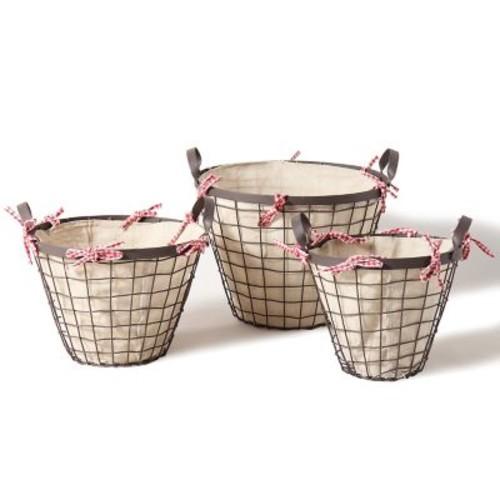 AdecoTrading 3 Piece Bucket Shaped Urban Style Basket Set