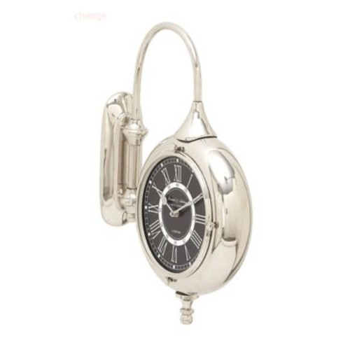 Cole & Grey Stainless Steel and Aluminum Double Wall Clock