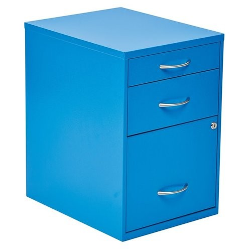 Office Star - Office Star 3 Drawer Filing Cabinet in Blue - Black