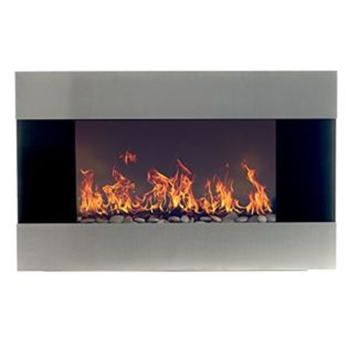 Northwest Stainless Steel Electric Fireplace With Wall Mount, Floor Stand and Remote, 36 Inch By