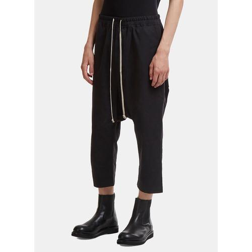 Cropped Drawstring Pants in Black