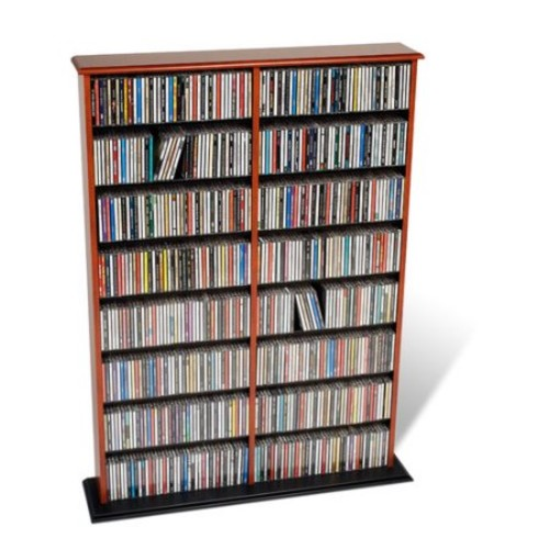 Prepac Double Width Multimedia Storage Rack [finish-cherryandblack]