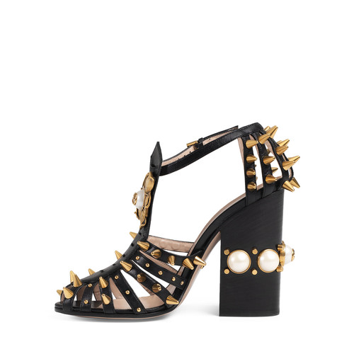 GUCCI Kendell Pearly Metallic Block-Heel Sandal, Black