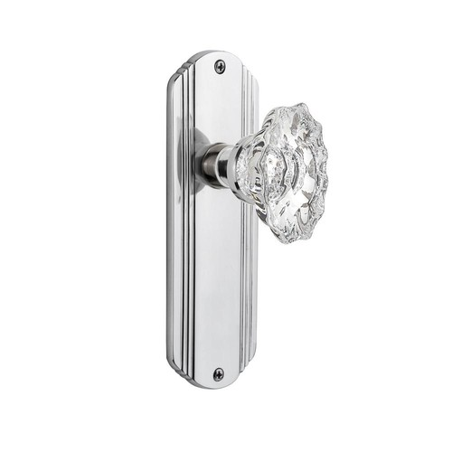 Nostalgic Warehouse Deco Plate Double Dummy Chateau Door Knob in Bright Chrome