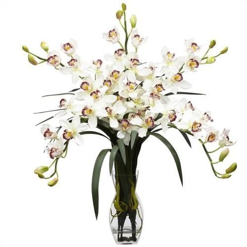 Nearly Natural Cymbidium Orchid Silk Flower Arrangement in White