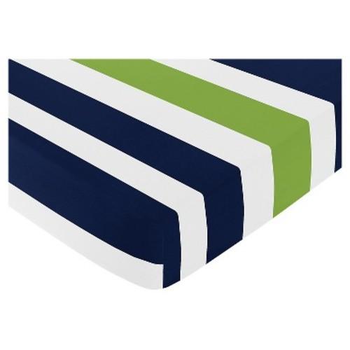 Sweet Jojo Designs Navy Blue & Lime Green Stripe Fitted Crib Sheet - Stripe Print