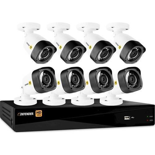 Defender - 8-Channel, 8-Camera Wired 1080p 1TB DVR Surveillance System - Black/White