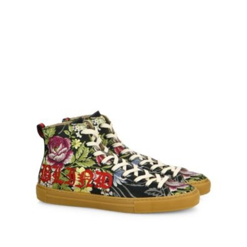 GUCCI Major Romantic Bouquet Jacquard High-Top Sneakers