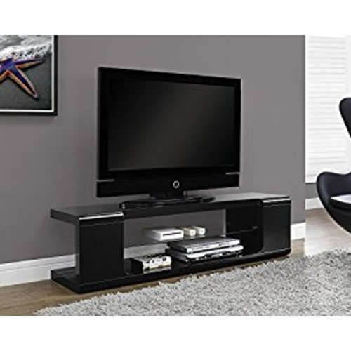 Monarch specialties I 3536, TV Console, High Glossy with Tempered Glass, Black, 60