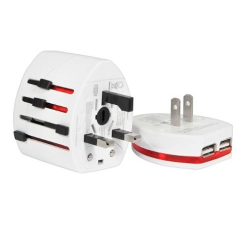 International Power Adapter & Dual USB Charger (White)