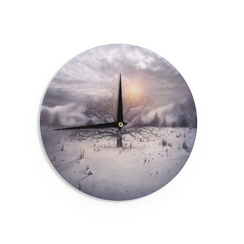 KESS InHouse Viviana Gonzalez 'Lone Tree Love II' Orange White Wall Clock