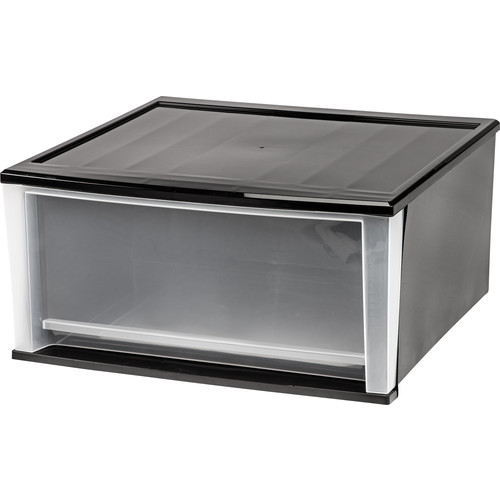 2-Piece 51-Quart Stacking Drawer X-Large Black