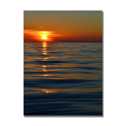 'Sunset over the Lake II' by Michelle Calkins Painting Print on Canvas