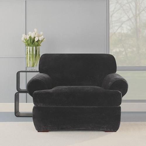 Sure Fit Stretch Plush Black T-Cushion Chair Slipcover (Black)