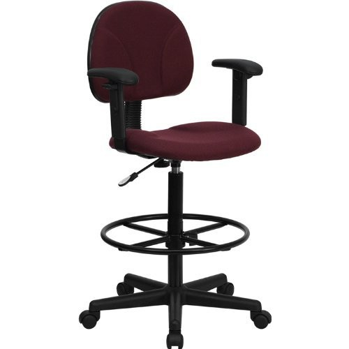 Flash Furniture Burgundy Fabric Drafting Chair with Adjustable Arms (Cylinders: 22.5''-27''H or 26''-30.5''H)
