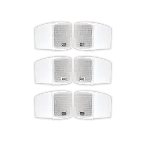 Acoustic Audio AA321W Mountable Indoor Speakers 1200 Watts White Bookshelf 3 Pair Pack AA321W-3Pr