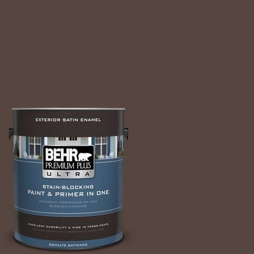 BEHR Premium Plus Ultra 1-gal. #PMD-91 Iced Espresso Satin Enamel Exterior Paint