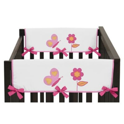 Sweet Jojo Designs Butterfly Side Crib Rail Guard Covers in Pink/White (Set of 2)