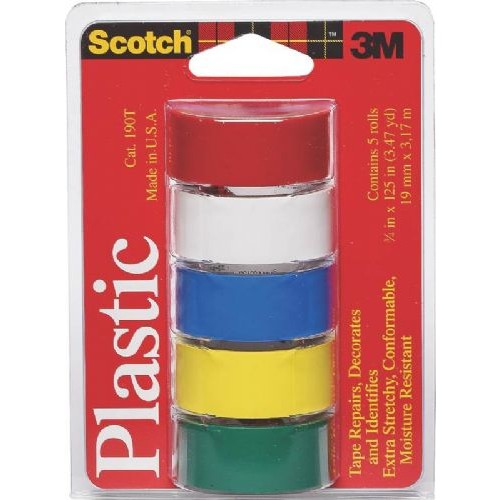 3M TAPE PLASTIC ASSTD COLOR 5PK