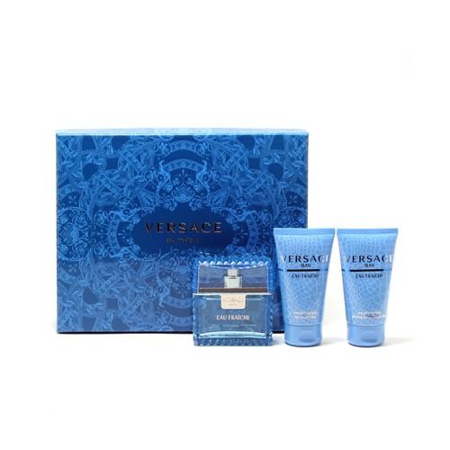 Versace Man Eau Fraiche Giftset- 1.7 Spray/1.7 Shower Gel/1.7 Shampoo (Hard Box)