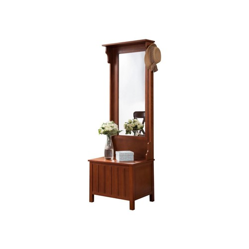 Pilaster Designs - Walnut Entryway Hall Tree with Mirror Coat Hooks and Storage Bench
