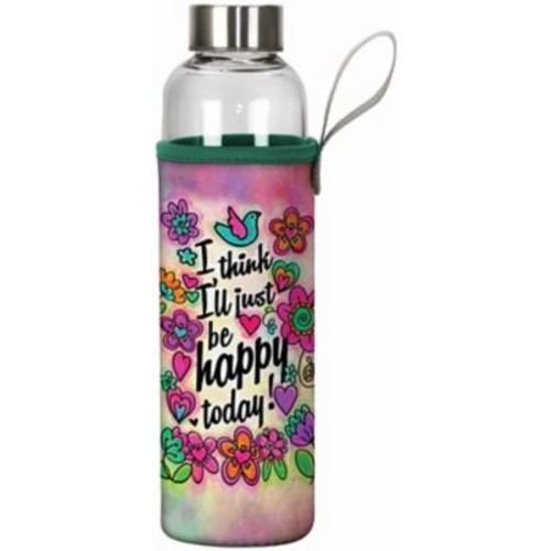 Spoontiques Happy Today 20oz Glass Bottle with Sleeve (19912)